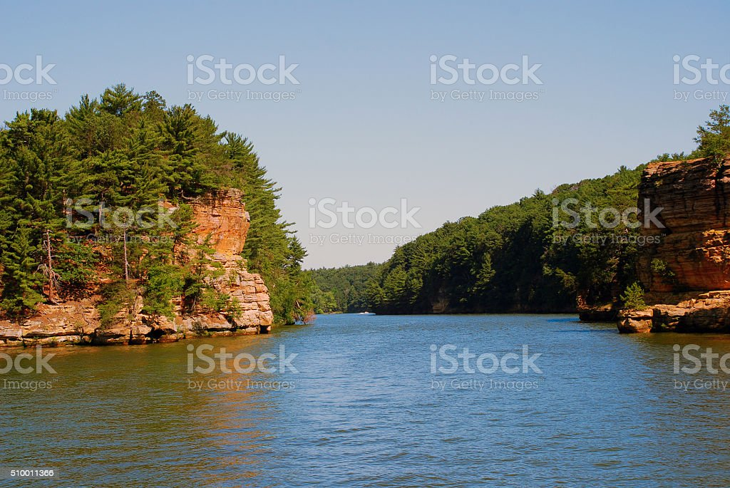 Wisconsin River near the  Wisconsin Dells, USA stock photo