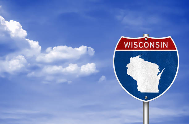 Wisconsin road sign map Wisconsin road sign map wisconsin stock pictures, royalty-free photos & images