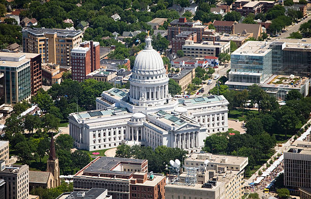 Wisconsin State Capital aerial view Wisconsin State Capital on a clear summer day. Aerial photo shot with a Canon 5D with Adobe RGB color profile. madison wisconsin stock pictures, royalty-free photos & images
