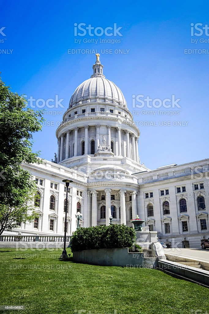 Wisconsin State Capitol building in Madison stock photo
