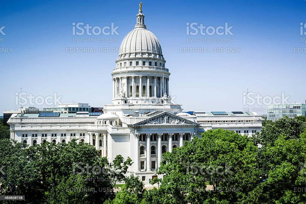 Wisconsin State Capitol building in Madison WI stock photo