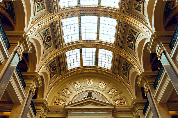 Wisconsin State Capitol Building West Gallery West Gallery wing above Assembly Chamber of Wisconsin state capitol building in Madison Wisconsin wisconsin state capitol stock pictures, royalty-free photos & images