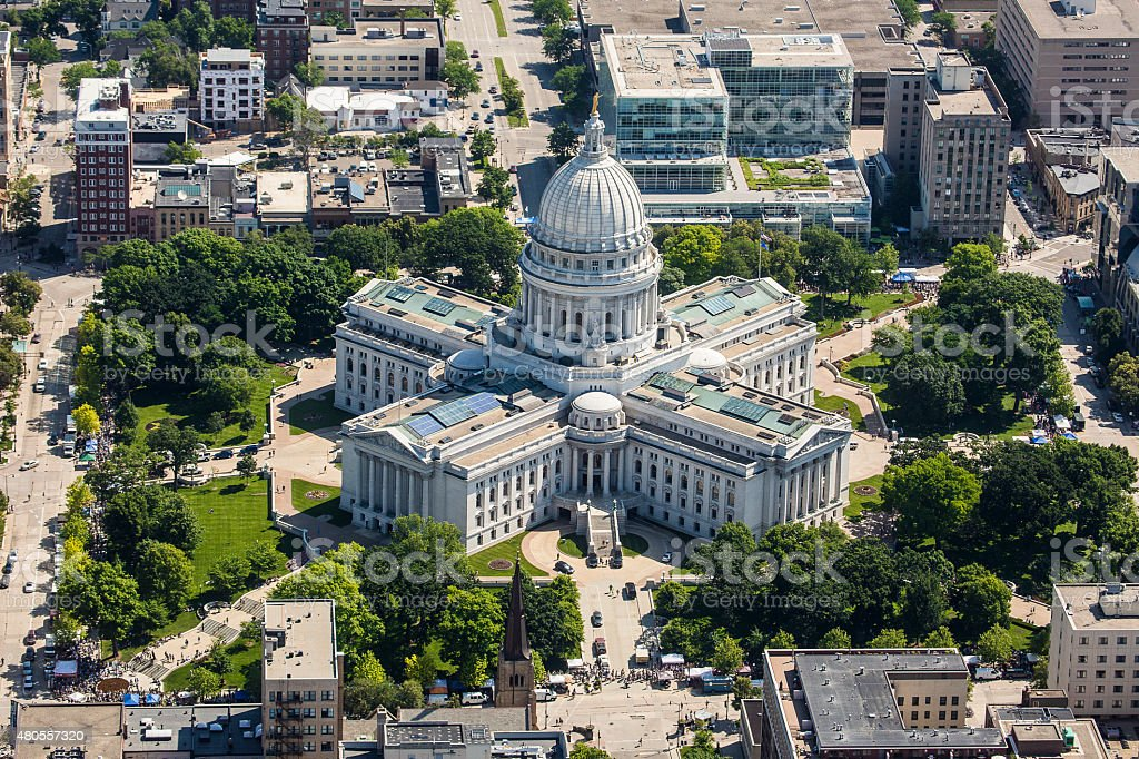 Wisconsin State Capitol from air stock photo