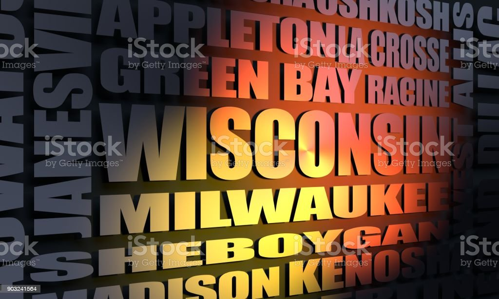 Wisconsin state cities list stock photo