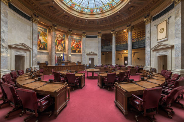 Wisconsin State Senate Chamber Madison, Wisconsin, USA - November 13, 2017: Senate chamber in the Wisconsin State Capitol building wisconsin state capitol stock pictures, royalty-free photos & images