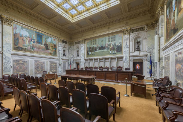 Wisconsin State Supreme Court courtroom Madison, Wisconsin, USA - November 13, 2017: Supreme Court in the Wisconsin State Capitol wisconsin state capitol stock pictures, royalty-free photos & images