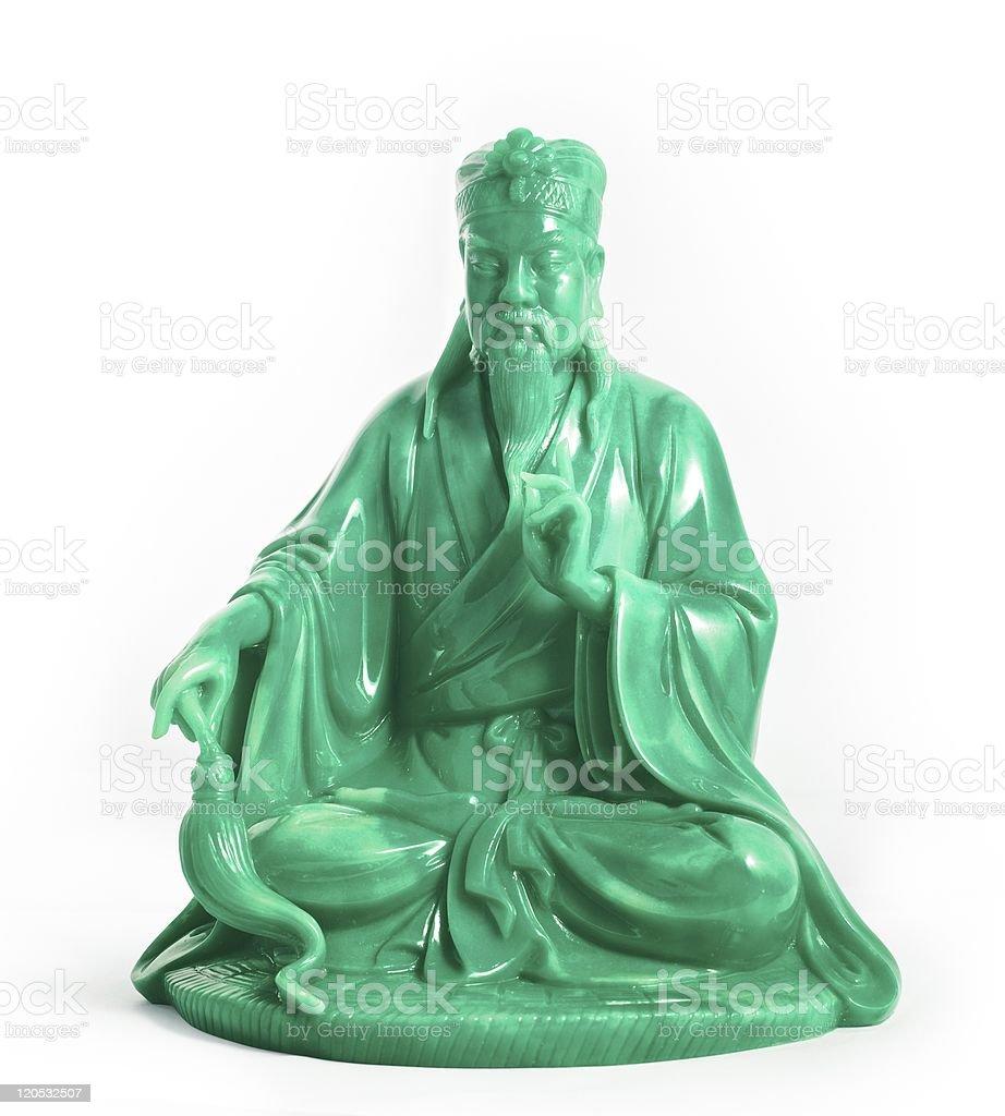 Wisdom green Jade Buddha with clipping path stock photo
