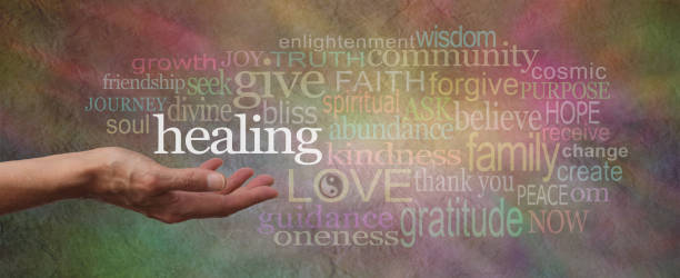 wise healing words parchment website header - holistic medicine stock photos and pictures