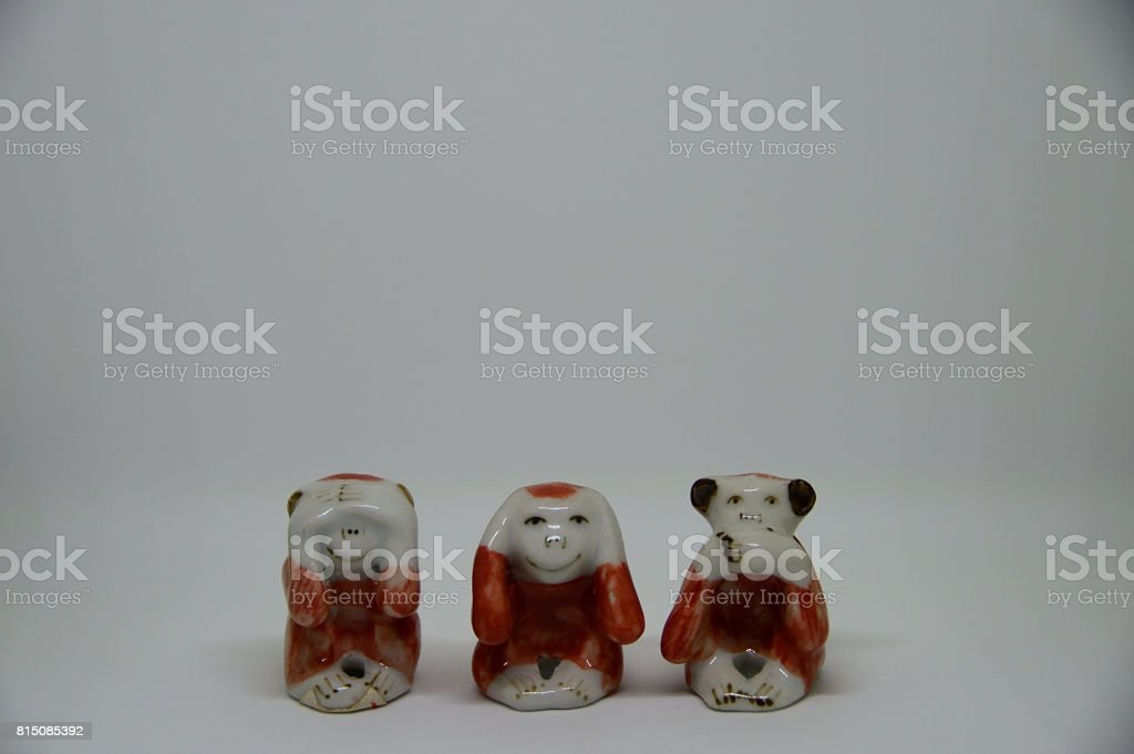 Wise monkeys that see, speak and hear stock photo