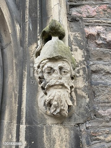 Figure head stone carving on an old church in Bristol U.K.