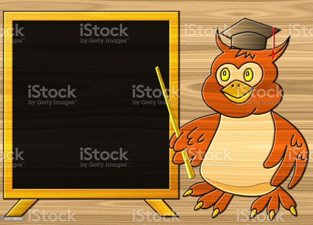 Wise owl relief painting on generated wood texture background stock photo