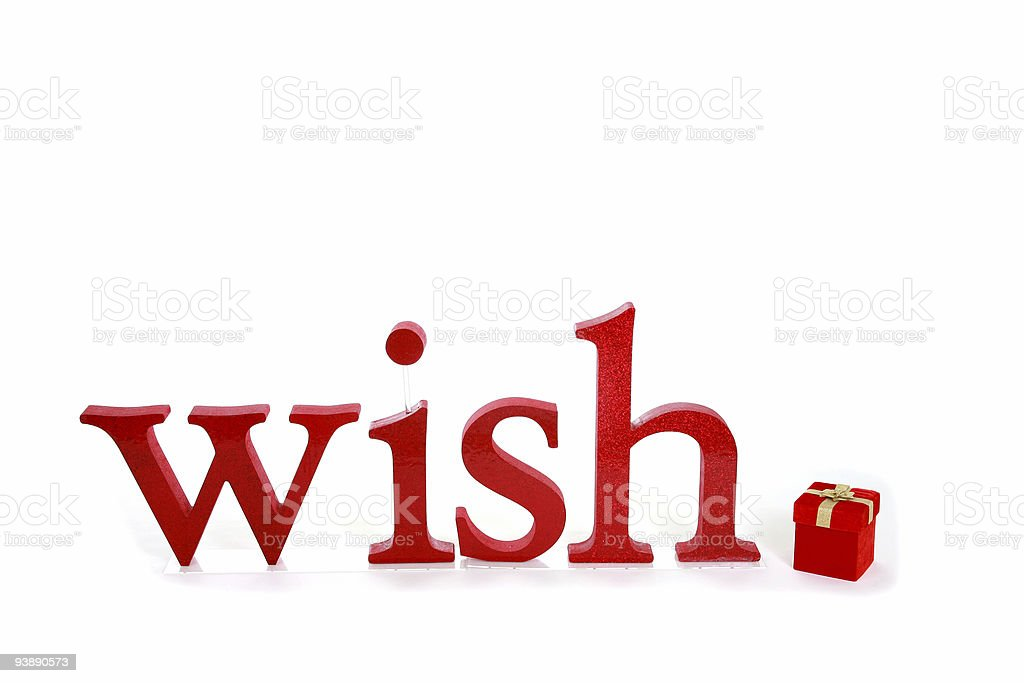 Wish, gift package for Christmas. Isolated on white. Red word. royalty-free stock photo