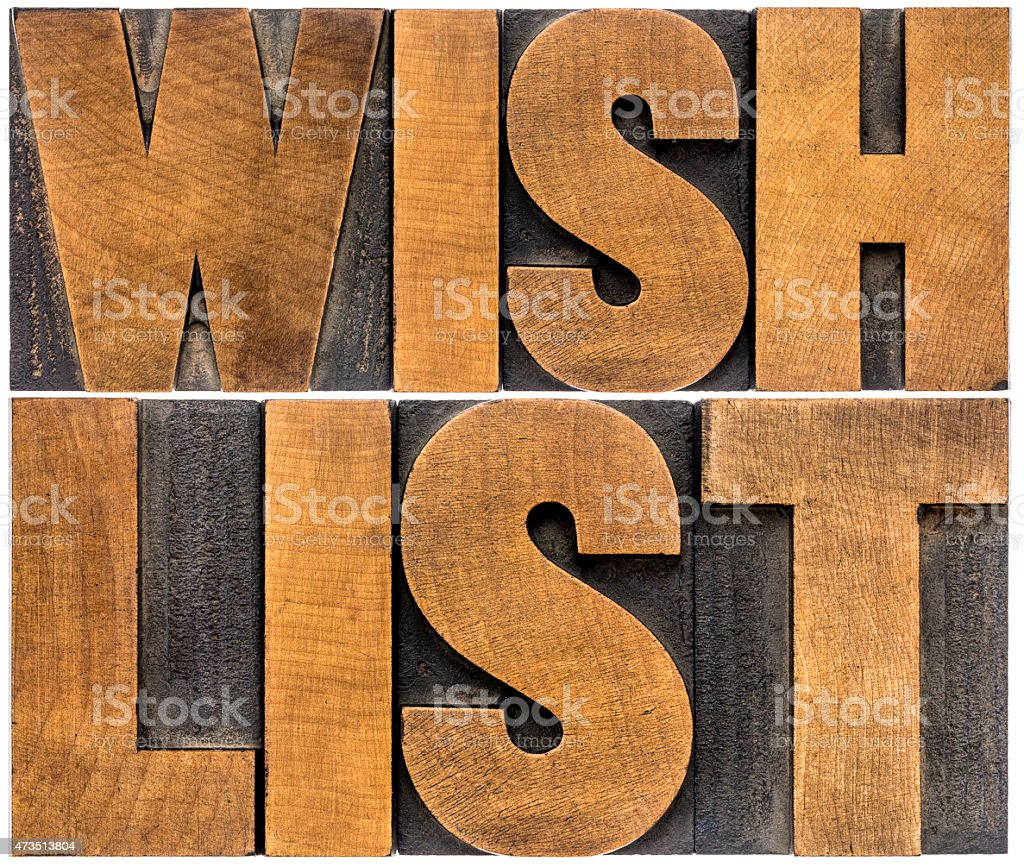 wish list word abstract typography stock photo