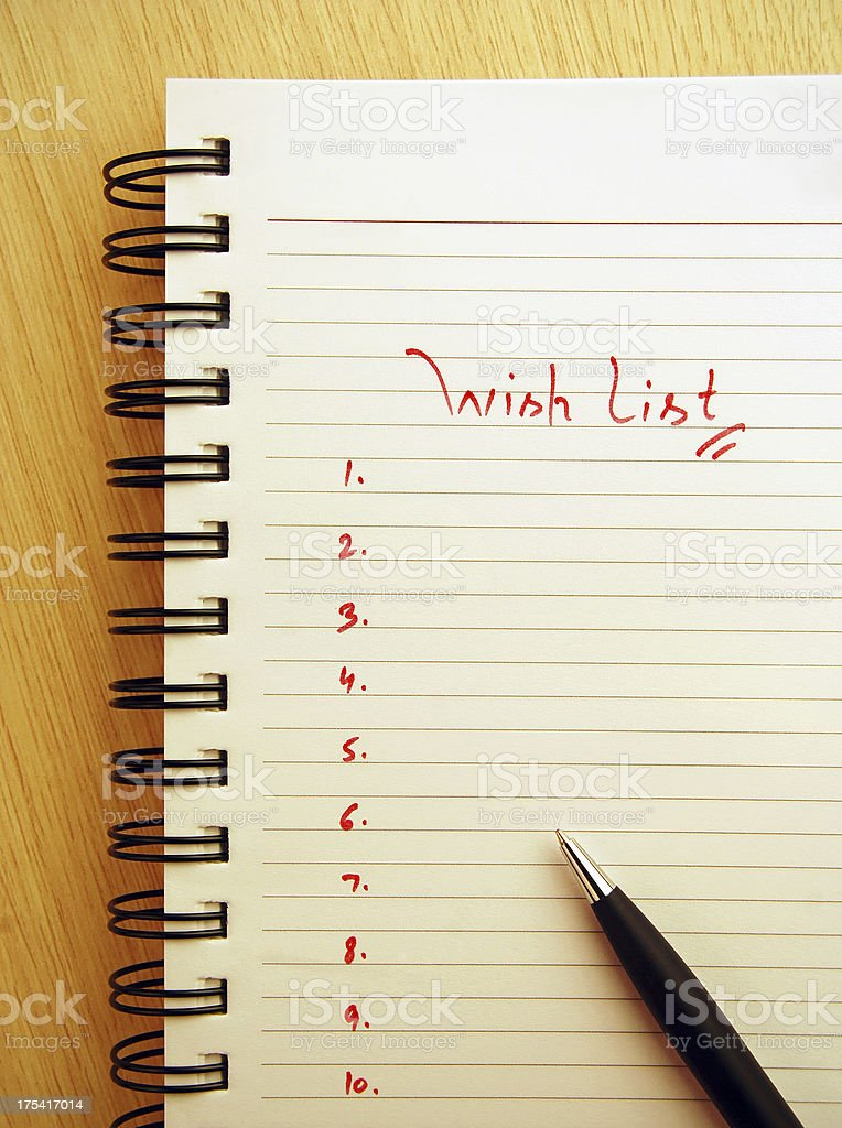 \'Wish list\' written on a spiral pad. Focus more on text.