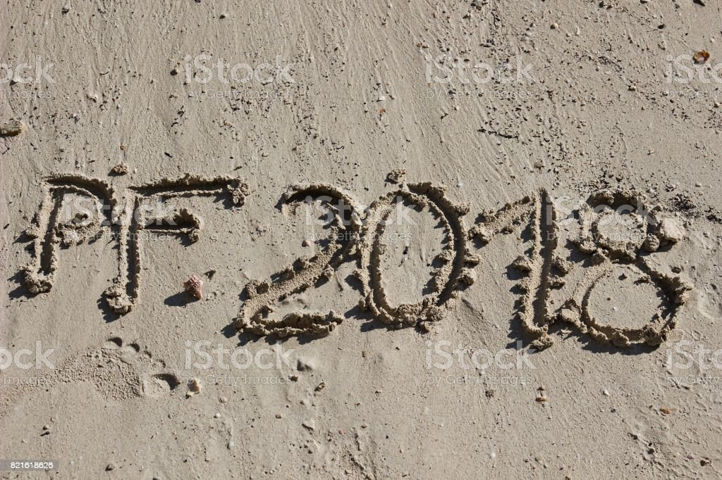 wish of the best by 2018 in the sand on the beach stock photo