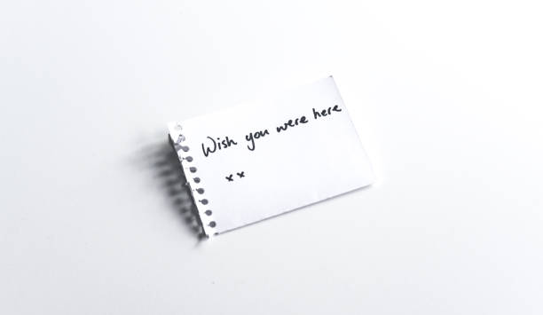 Wish you were here xx Note left for absent loved one long distance relationship stock pictures, royalty-free photos & images