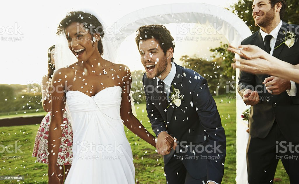 Wishing the bride and groom good luck stock photo
