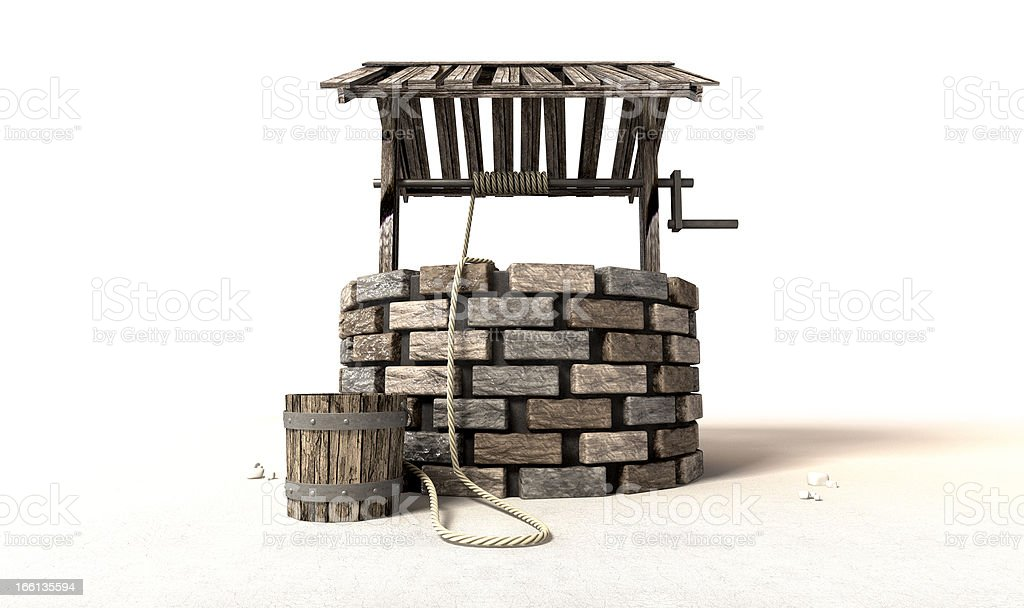 Wishing Well With Wooden Bucket And Rope royalty-free stock photo