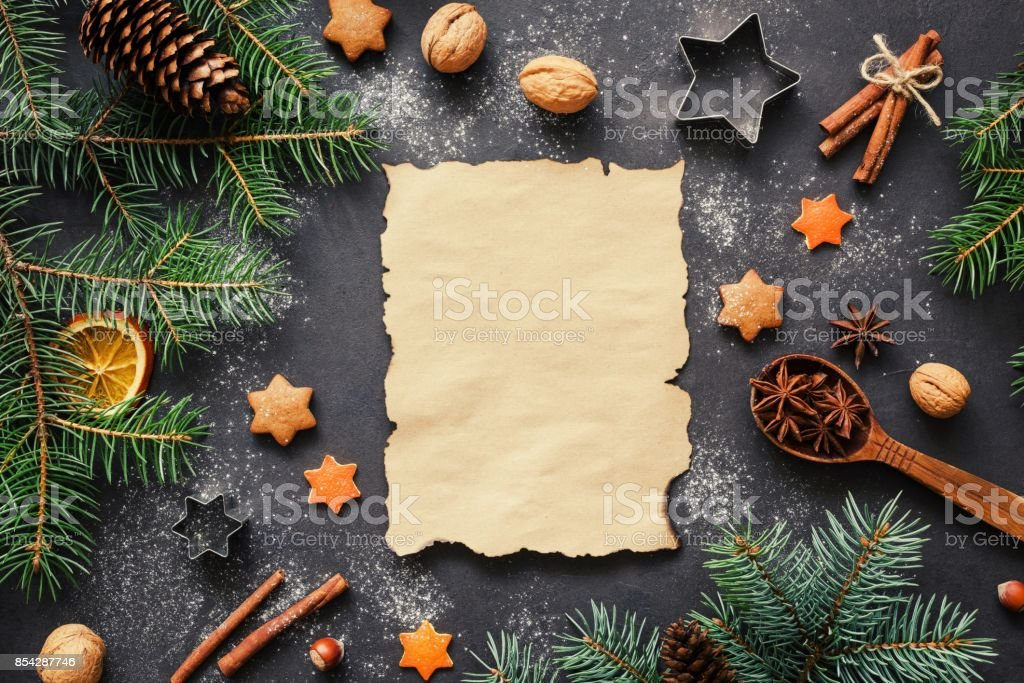 Wishlist for Santa or Christmas letter concept. Holiday background stock photo