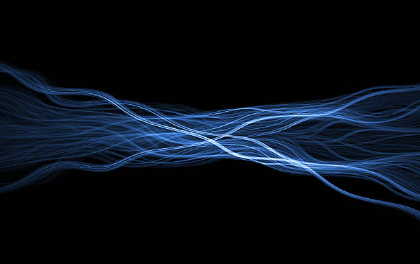 Wispy blue glowing flame fractal stock photo