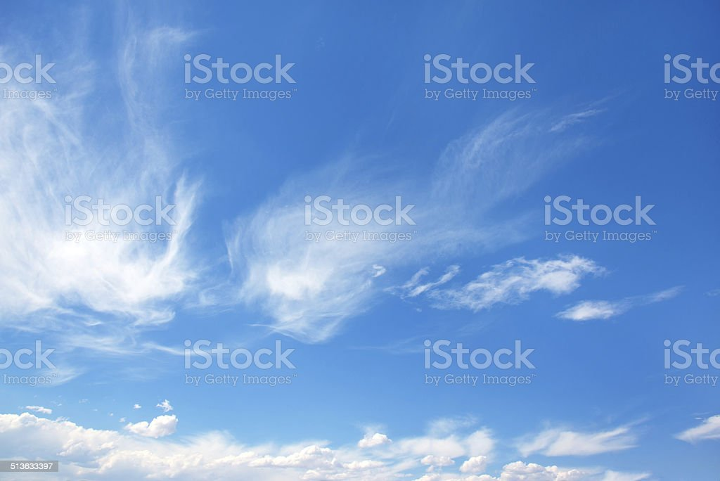 Wispy Clouds on Blue Sky stock photo