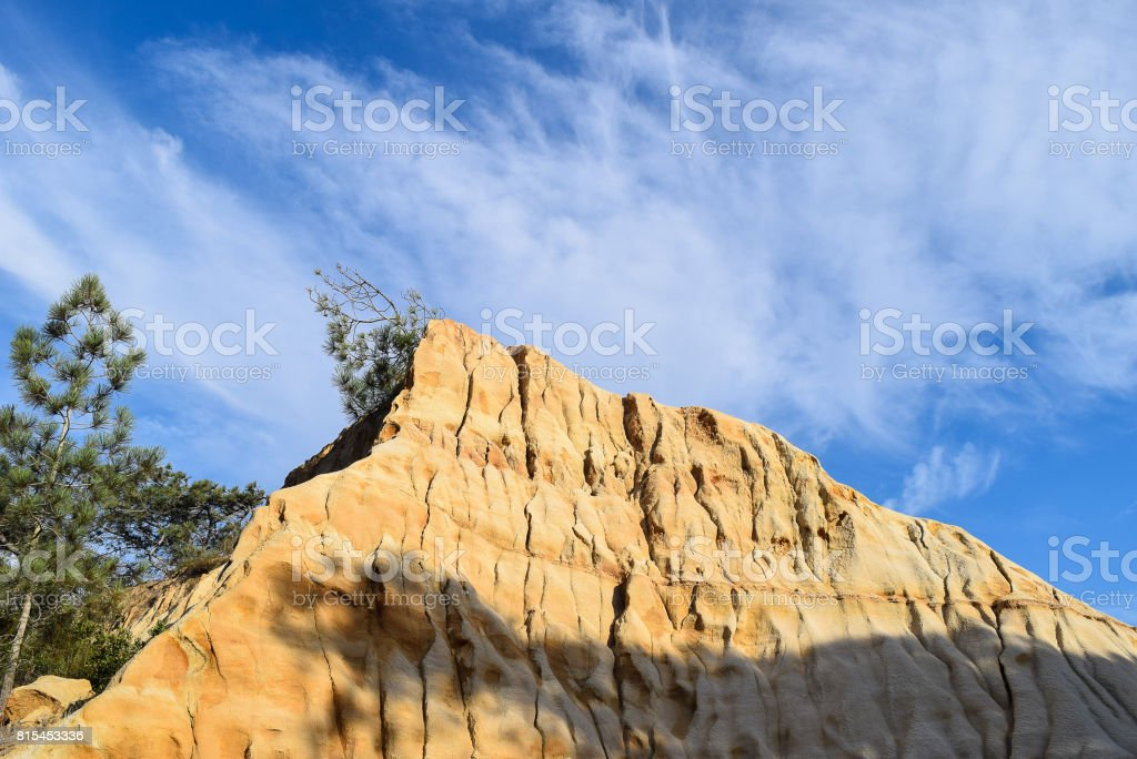 Wispy Clouds over Torrey Pines State Reserve's Sandstone Cliffs stock photo