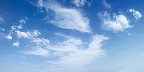 Cirrus clouds on blue sky abstract background