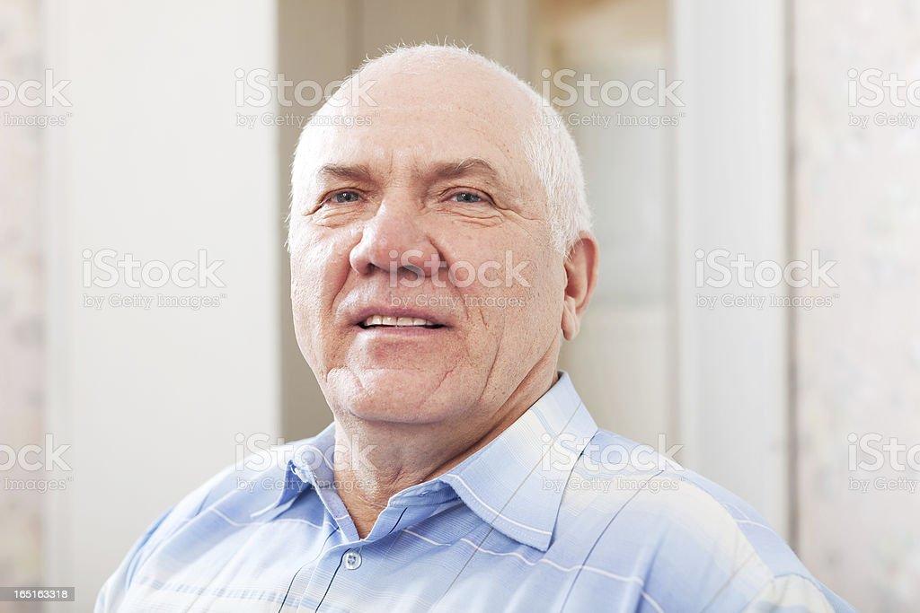 wistful grizzled senior man royalty-free stock photo