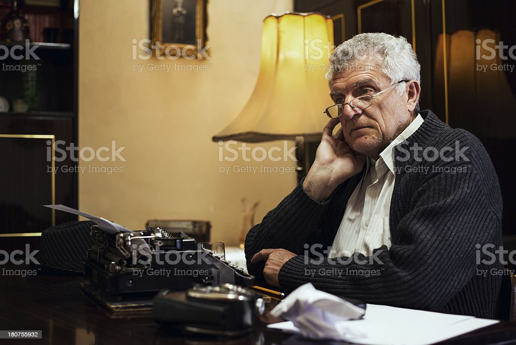 Wistful Retro Senior Man writer royalty-free stock photo