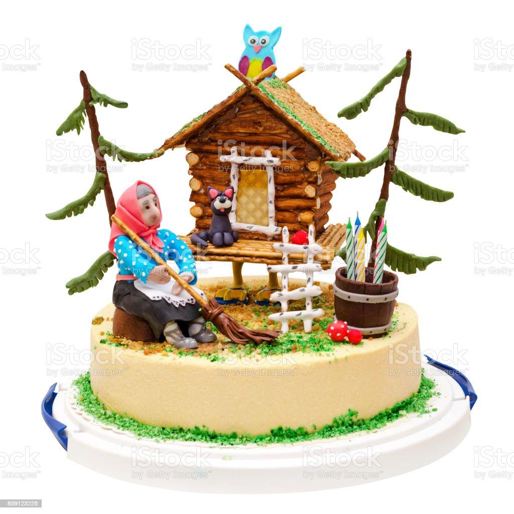 Hexe Und Haus Kuchen Mit Wald Eule Katze Kerze Isoliert Auf Weiss