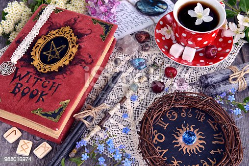 811119304 istock photo Witch book with magic spellings, black candles, flowers and cup of tea with zodiac circle 988016974
