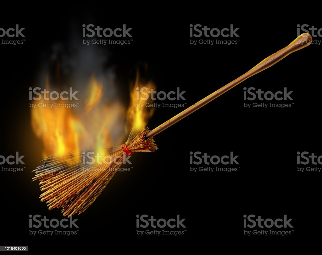 Witch Broom Burning Object stock photo