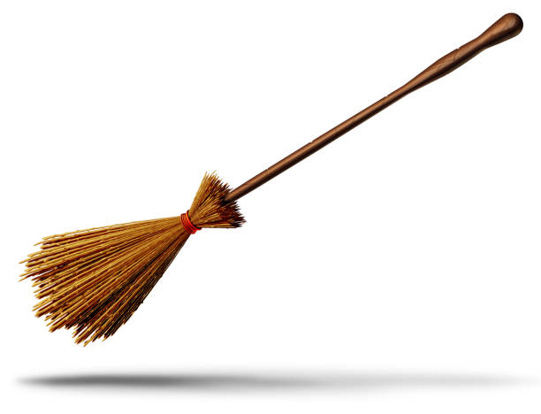 Witch Broom Object Witch broom object as an old magical besom for a wicked wizard as a halloween graphic element 3D illustration. broom stock pictures, royalty-free photos & images