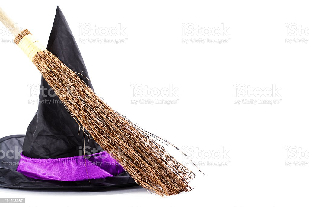 Witch broomstick and hat royalty-free stock photo