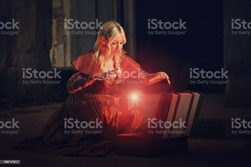 Witch conjuring a spell stock photo