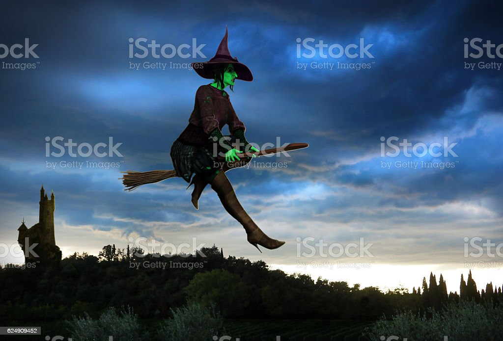 Witch Flying on a Broomstick stock photo