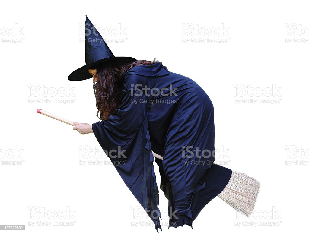witch flying on broomstick royalty-free stock photo