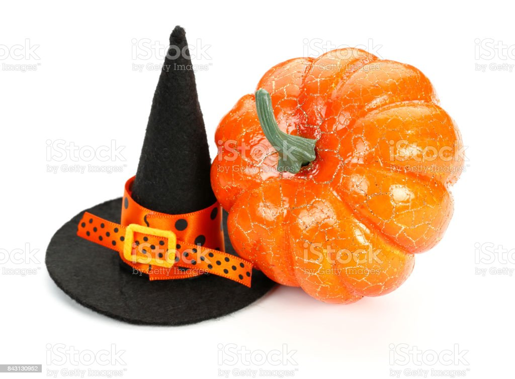 Witch Hat and Pumpkin stock photo