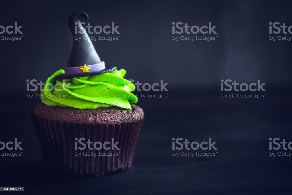 Witch hat cupcakes stock photo
