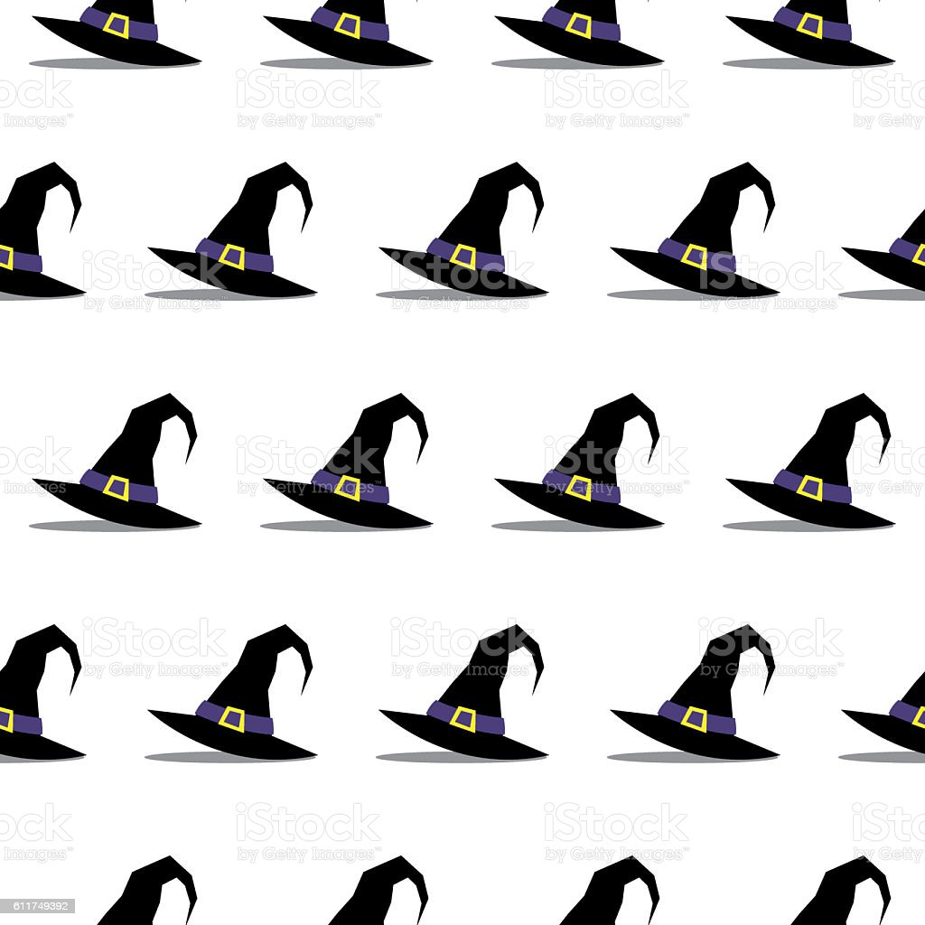 Witch Hat Halloween Seamless Pattern stock photo