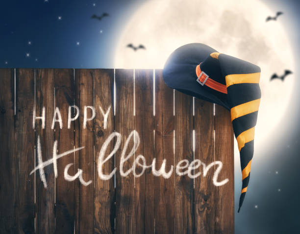 Witch hat on wooden fence stock photo