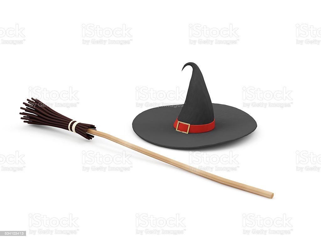 Witch Hat wit Broom isolated on white background stock photo