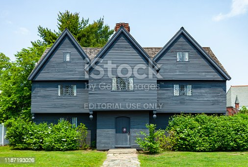 Salem, Massachusetts, USA - May 31, 2019:  The Witch House in Salem, Massachusetts is the only building with direct ties to the Salem Witch Trials left.