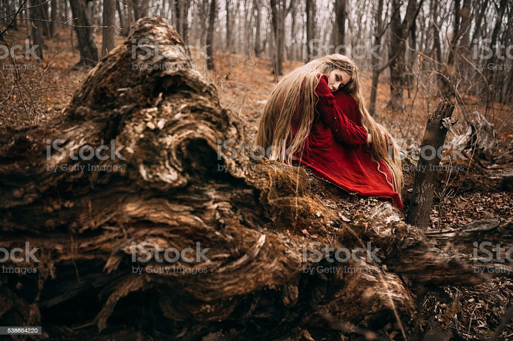 Witch in forest stock photo