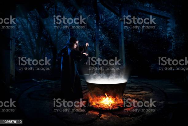 Photo of Witch in night forest version