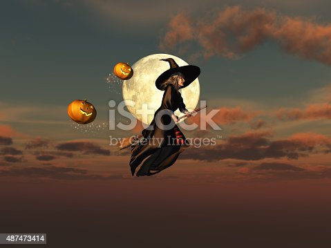 istock Witch on a broomstick and jack-o'-lanterns 487473414