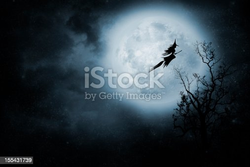 istock Witch riding a broom 155431739