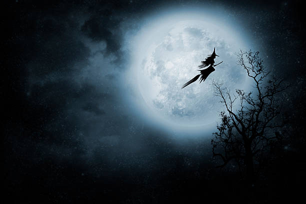 Witch riding a broom Night flight. Witch riding a broom. broom stock pictures, royalty-free photos & images