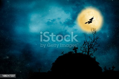 istock Witch riding a broom 168247207