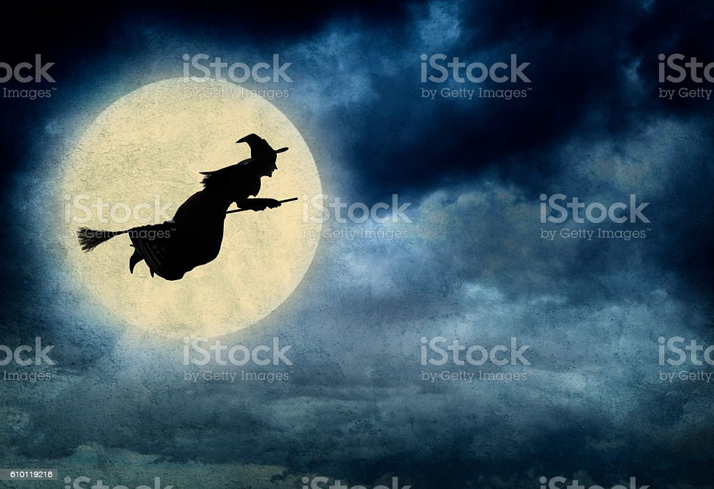 Witch Riding On Broom In Front Of Hazy Full Moon – Foto